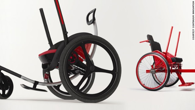 The Leveraged Freedom Chair, created by a former MIT student, enables users to traverse rough terrain at an affordable price. The original model, featured on the right, was designed particularly for disabled people in the developing world. A newer, more expensive model (left), is set for release in western markets this year.