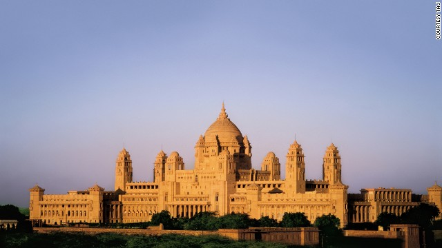 The spectacular sandstone exterior of the Umaid Bhavan palace in the state of Rajasthan, northwest India. Still the primary residence of the royal Maharaja of Jodhpur, a third of the facility was transformed into a hotel in 1972.