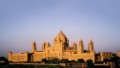 The spectacular sandstone exterior of the Umaid Bhavan palace in Jodhpur, India.