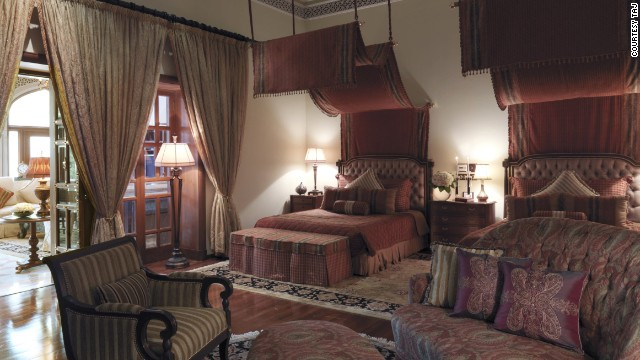 An elaborate double room at the Rambagh Palace hotel in Jaipur.