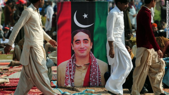 The leader of the Pakistan People's Party, Bilawal Bhutto Zardari, has been absent from rallies in the lead-up to the elections. The 24-year old, who became chairman after his mother, Benazir Bhutto, was assassinated, is not yet old enough to run for parliament.