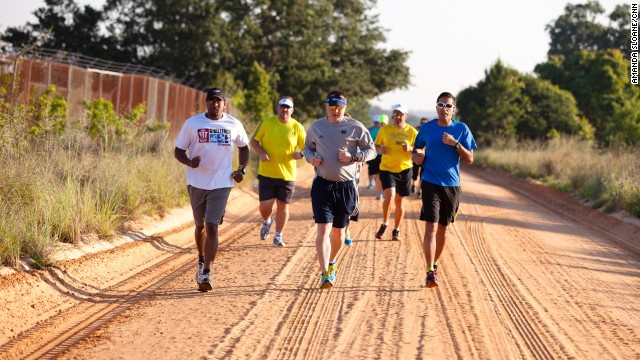 The Fit Nation team heads out for a run along one of Clermont's clay trails.