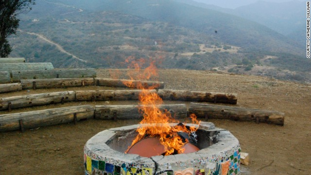 """At the end, there's a closing campfire and burning of the """"worry wall."""""""