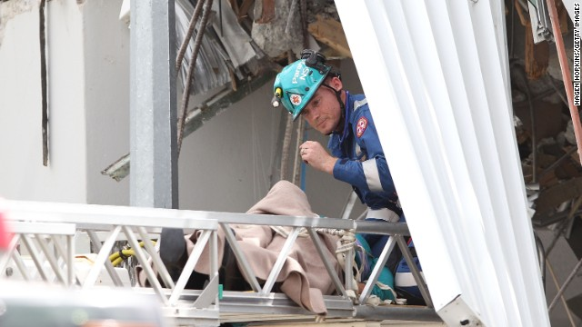 Anne Vos, 57, is rescued 24 hours after a five-story building where she worked collapsed during an earthquake in Christchurch, New Zealand, on February 22, 2011. She said she thought she was going to die and had called family and friends to say goodbye. She talked to international media while trapped.