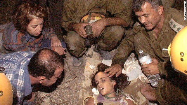 Shiran Franco, a 9-year-old Israeli girl, is rescued on August 21,1999, around 100 hours after a building collapsed on her during an earthquake in Cinarcik, Turkey. Her family had been on vacation. Shiran's twin brother, father and grandparents were found dead, but her mother survived after pulling herself from the building after 30 hours.