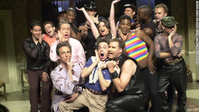 "Meyers, bottom left, appears in a ""Saturday Night Live"" skit on November 3, 2001, his first season on the show."