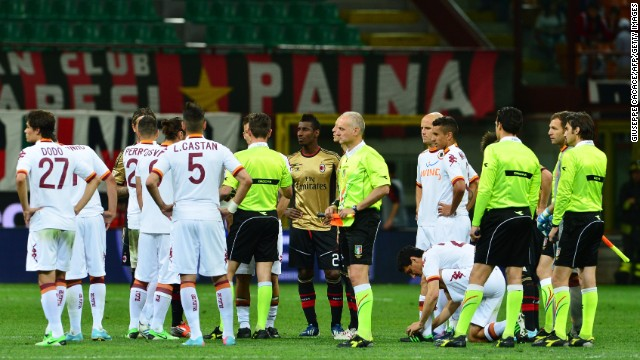 The match was halted in the second half as referee Gianluca Rocchi ordered a public address announcement to warn the visiting supporters to stop their chants.