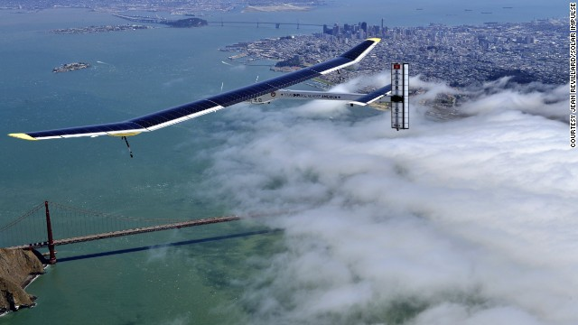 Solar Impulse, a Swiss-made, solar-powered aircraft, soars above San Francisco's Golden Gate Bridge in April. The one-of-a-kind aircraft is on a five-leg voyage across the United States.