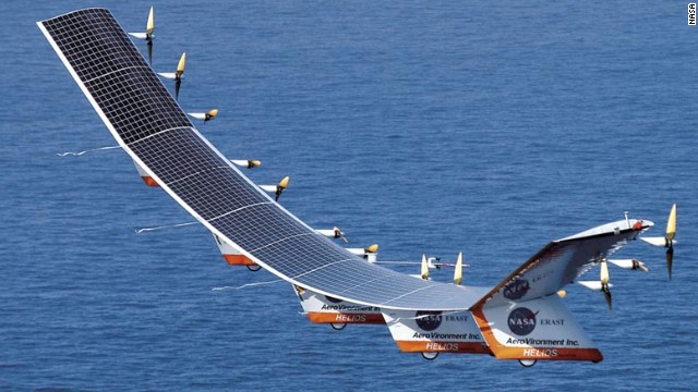 NASA's Helios was a prototype high-altitude, long-duration unmanned solar-powered aerial vehicle. In 2001, Helios reached an altitude of 96,863 feet, breaking an official world record altitude for a non-rocket-powered aircraft. In <a href='http://www.nasa.gov/centers/dryden/history/pastprojects/Helios/' target='_blank'>2003, Helios broke apart in flight</a> during heavy turbulence.