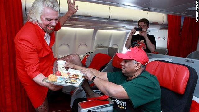 Branson served meals and drinks to passengers, including the guy who made this happen -- Tony Fernandes, CEO of AirAsia Group.