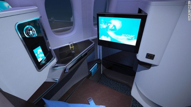 A mock-up of a potential interior on board the aircraft.