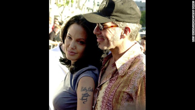 "Jolie and her husband at the time, Billy Bob Thornton, appear at the premiere of her film ""Gone in 60 Seconds"" in Los Angeles in June 2000. They divorced in 2003."