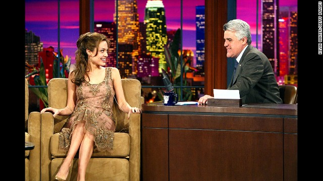 "Jolie appears on ""The Tonight Show with Jay Leno"" in March 2004 in Burbank, California."