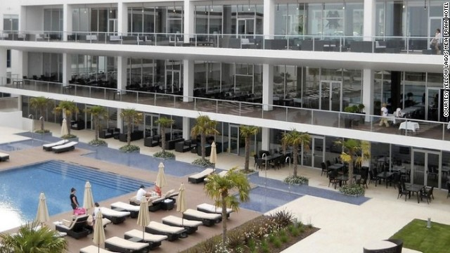 The <a href='http://www.yellowhotels.pt/yellows/lagosmeiapraia/en/hotel-overview.html' target='_blank'>Yellow Lagos Meia Praia Hotel</a> overlooks Meia Praia beach in Lagos, Portugal.