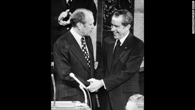 "In one of his first acts as president, Gerald Ford granted ""a full, free and absolute pardon"" to former President Richard Nixon for all crimes he may have committed while president, including his involvement in the Watergate scandal."