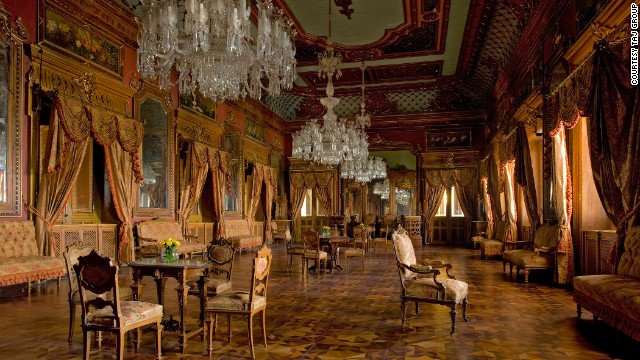 The elaborate ballroom at the Taj Falaknuma. Transforming the palace into a 60-suite hotel whilst maintaining the buildings regal character took the Taj Group the best part of 10 years.