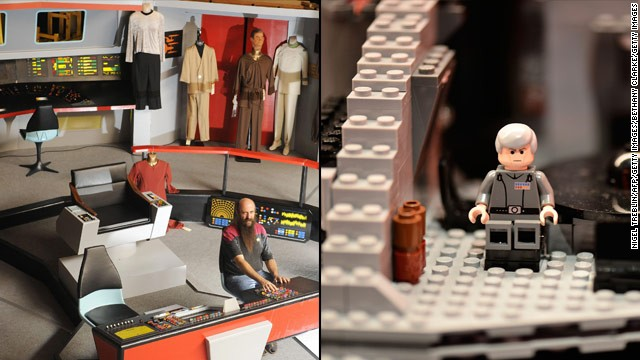 "Computers are weaved into life. The ""Star Trek"" series feature talking computers, food replicators and a transporter to get around. ""Star Wars"" has hologram communication, advanced binoculars and hovercraft. Photos: Reproduction of the original-series Enterprise bridge (left) and a close-up view of a Lego Star Wars Death Star in London."