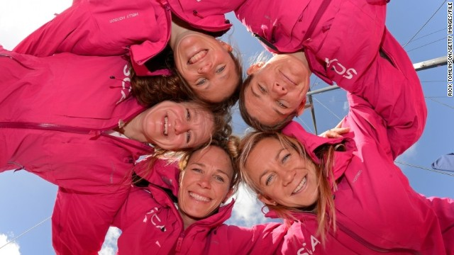 Introducing the first all-female team in over a decade to compete in one of the most grueling sailing races on the planet -- the Volvo Ocean Race. Clockwise from bottom: Carolijn Brouwer of the Netherlands, Annie Lush and Sam Davies of Britain, and Liz Wardley and Sophie Cizcek from Australia.