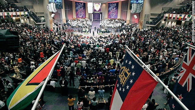 The United States has more than 1,300 megachurches. More than 50 draw a weekly attendance between 10,000 and 45,000, such as New Birth Missionary Baptist Church in Lithonia, Georgia (pictured).