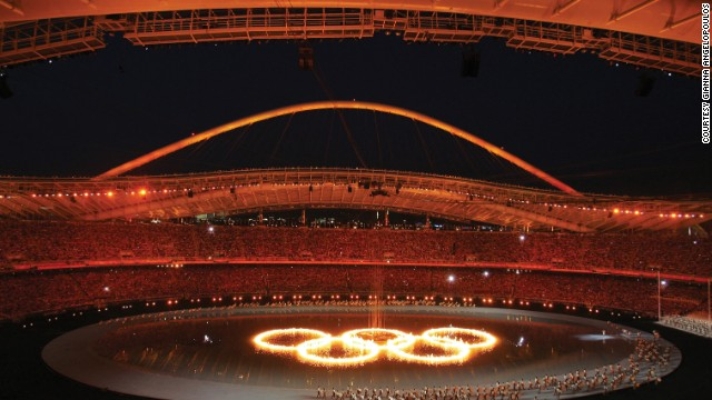 Olympic rings at Athens 2004 opening ceremony, the culmination of four years' of work for Angelopoulos and her team.