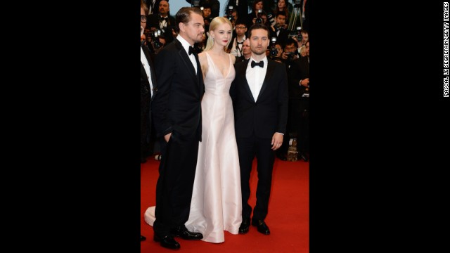 "Stars Leonardo DiCaprio, Carey Mulligan and Tobey Maguire pose together at ""The Great Gatsby"" premiere."