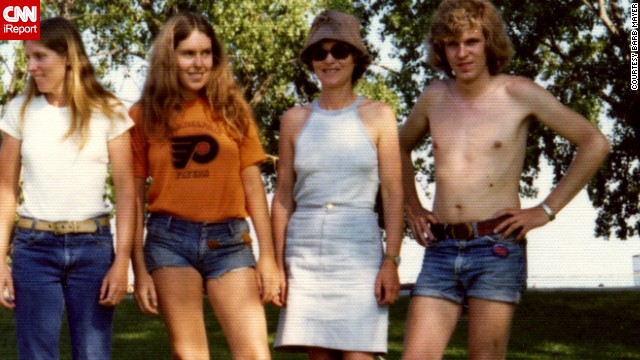 Men were historically the ones promoting denim fashions, until <a href='http://ireport.cnn.com/docs/DOC-965235'>cutoff denim shorts</a> came along. Barb Mayer, second from left, in 1974, says she would be embarrassed to wear such short shorts today.