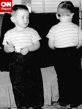 "By the '50s, denim had become popular with everyday Americans, children included. The grandmother of <a href='http://ireport.cnn.com/docs/DOC-965623'>these twin boys</a> ""thought it was time they looked like little boys instead of babies,"" said iReporter Janie Lambert, whose husband, right, was about 3 years old in this 1952 photo. The pants were a deep blue denim (no prewash in those days)."