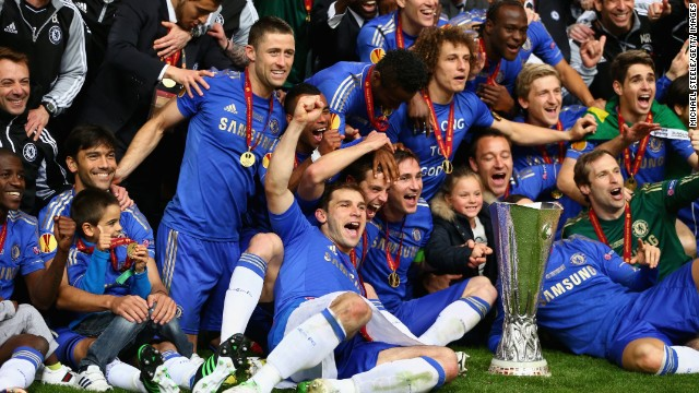 One year on from winning the Champions League, Chelsea's players celebrate with the Europa League trophy.