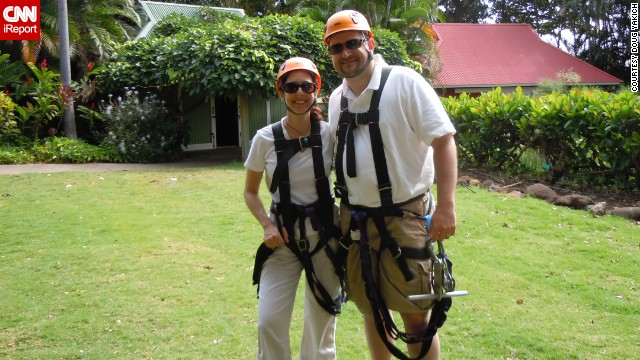 Doug Yakich and his wife, Jacqueline Jordan, went ziplining on a trip to Hawaii in 2011, just six months after his ostomy surgery.