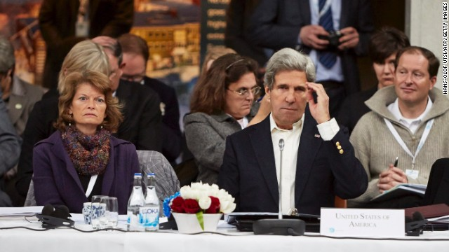 US Secretary of State John Kerry attends the Arctic Ministerial Summit next to US Senator Lisa Murkowski in Sweden.