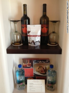 Some hotels have tried to entice guests towards the minibar with open displays and more imaginative product options. Here, locally sourced wine and snacks are displayed in a suite at the <a href='http://enchantmentresort.com/' target='_blank'>Enchantment Resort</a> in Sedona, Arizona.