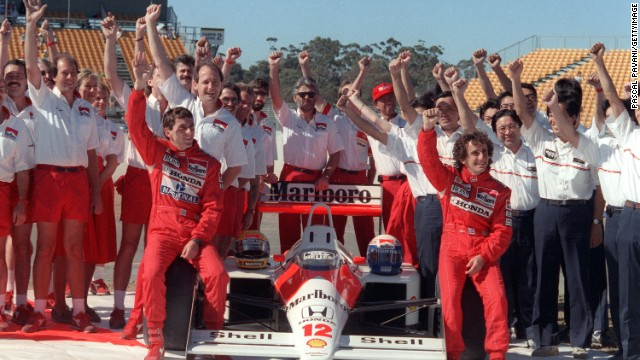 McLaren and Honda formed a dominant relationship in 1988 as the car won 15 out of 16 races and Ayrton Senna (front left) won the first of his three world titles