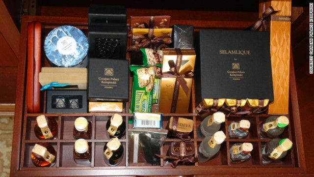 The <a href='http://www.kempinski.com/en/istanbul/ciragan-palace/welcome/' target='_blank'>Cıragan Palace Kempinski</a> in Istanbul, Turkey, goes all out-on culture, stocking its minibar with signature local treats such as chocolates, coffee and Turkish delights.