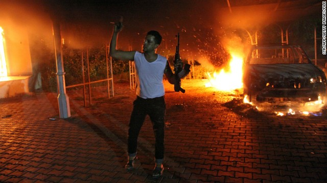 Demonstrators set the U.S. Consulate compound in Benghazi, Libya, on fire on September 11, 2012. The U.S. ambassador and three other U.S. nationals were killed during the attack.