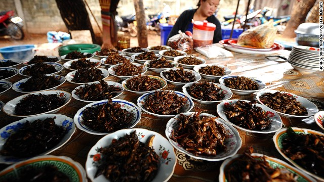 Crickets are some of the most commonly eaten insects in the world and are regarded as a solution for the malnutrition problem plaguing Laos. Fried crickets and grasshoppers are sold at markets like this one in Vientiane. According to consumer feedback in the U.N. report, farmed crickets are tastier than the ones picked in the wild.