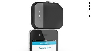 Alcohoot\'s breathalyzer device plugs into a smartphone.