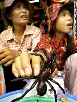 Fried or grilled spiders are a popular daytime snack in Cambodia, and are sold in markets such as Phnom Penh's central market (shown here), and in city restaurants. Spiders are chock full of zinc and iron, and provide a significant source of income for many impoverished Cambodian farmers, says the U.N. report.