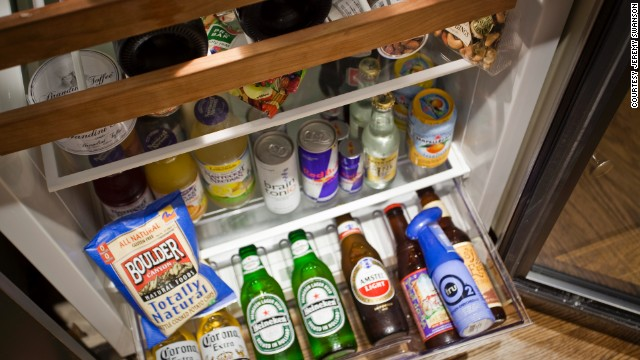 The well stocked minibar at The Little Nell ski resort in Aspen has a wide selection of local beers and imported spirits. Cans of tru02 oxygen meanwhile help guests acclimatize to the city's 7,900 foot altitude before hitting the nearby slopes.