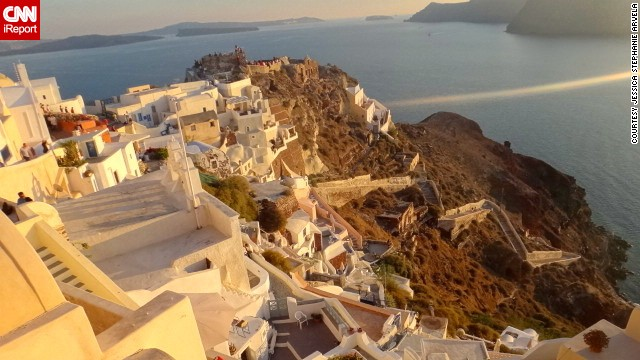 The island of Thira, colloquially known as Santorini, lies off the southeast tip of Greece and is known for its sunsets. See more images from around Greece on <a href='http://ireport.cnn.com/docs/DOC-862128'>CNN iReport</a>.