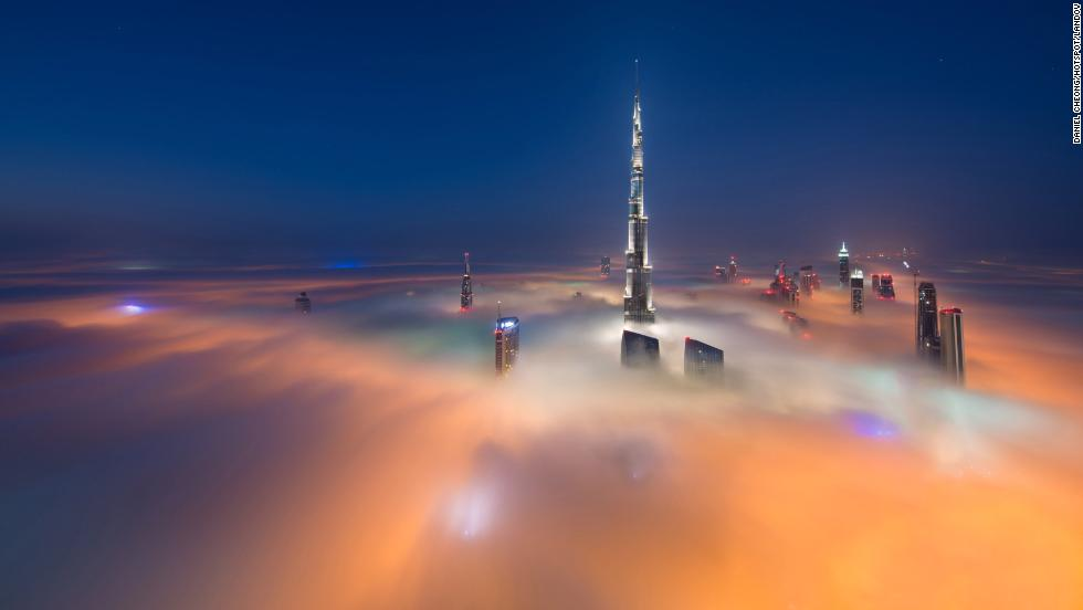 Photographer Daniel Cheong spent the past six months photographing the record-breaking skyline of Dubai, UAE, at just the right moments. Burj Khalifa, the world's tallest building at 2,722 feet, is seen here from the 79th floor of the Index Tower.