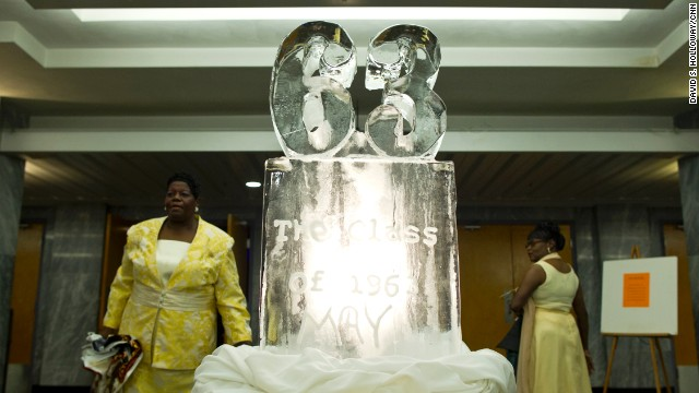 An ice sculpture greets the participants as they enter.