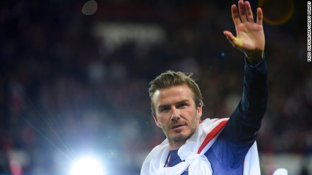 David Beckham waves after his team Paris St. Germain played Brest in his final home match in Paris on Saturday, May 18. Beckham signed on with the team just a few months ago, and now he is retiring. Click through for a look back at Beckham through the years. 