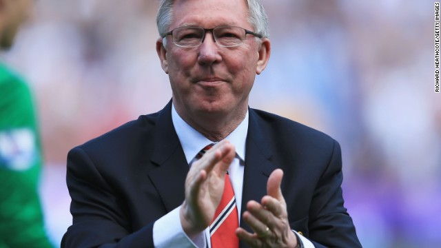 Alex Ferguson applauds the crowd as he says farewell after his 1500th game in charge of Manchester United.