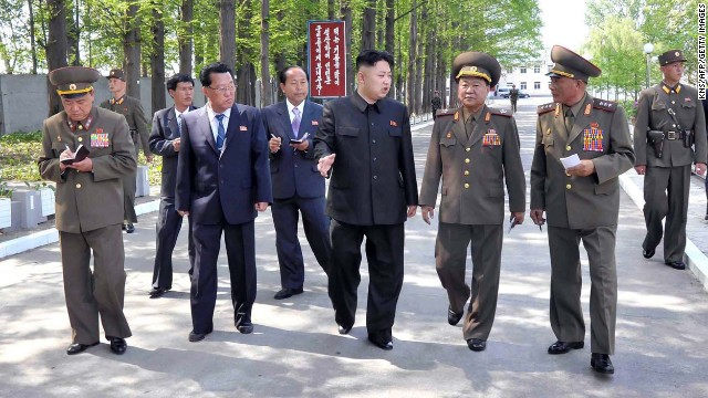 North Korean leader Kim Jong Un inspects a military factory in this undated picture released by the Korean Central News Agency on Friday, May 17. North Korea launched several short-range guided missiles into the sea off the Korean Peninsula's east coast May 18, South Korea's semi-official news agency Yonhap cited the South Korean Defense Ministry as saying.