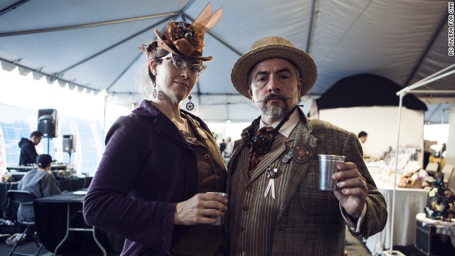 Some 120,000 people descended on San Mateo, California, last weekend for Maker Faire Bay Area 2013, an annual celebration of do-it-yourself crafts, technology and culture. Steampunk fashion was a big part of the event. Here, Maker Faire veterans Katherine Becvar and Samuel Coniglio look dapper while checking out crafts.