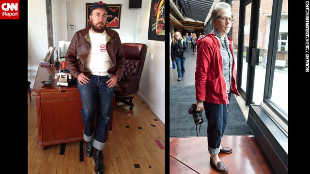 "Recent years have seen a revival of appreciation for untreated denim common in the days of Jacob Davis and Levi Strauss. Today, however, purists like Tyler Madden, left, and <a href='https://twitter.com/archcloth' target='_blank'>Lesli Larson</a> (who both work in the apparel industry), favor raw denim from Japan, including their beloved <a href='http://www.selfedge.com/shop/index.php?main_page=index&cPath=65' target='_blank'>1947 Sugar Cane denim</a>. ""They are simple, unadorned, and fill the role of classic blue jean better than any other pants that can be bought today,"" said Madden. Larson added, ""I feel like I could toss out the rest of my wardrobe and live in these pants for the next decade. """