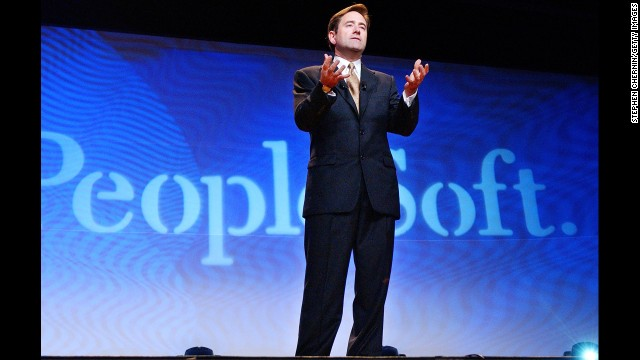 Oracle had a drawn-out fight for rival software development business PeopleSoft, which sold to Oracle <a href='http://money.cnn.com/2004/12/13/technology/oracle_peoplesoft/'>for $10.3 billion</a> in cash in December 2004. Pictured, PeopleSoft President Craig Conway speaks in June 2003.