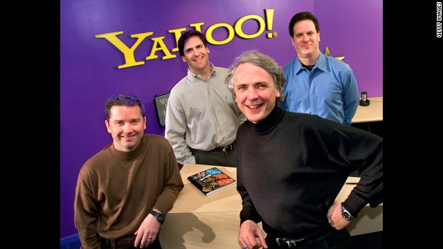 In its last big purchase in April 1999, <a href='http://money.cnn.com/1999/04/01/deals/yahoo/' target='_blank'>Yahoo bought broadcast.com</a>, the leading video and audio broadcaster at the time, for $5.7 billion in stock. Pictured in front, Yahoo's then President Jeff Mallett, left, and CEO Tim Koogle; in back, Broadcast.Com Inc.'s then president, Mark Cuban and then CEO, Todd Wagner, celebrate the announcement of the acquisition, April 1999.