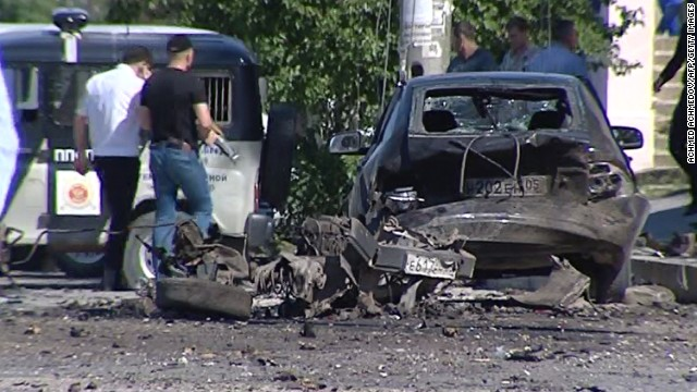 A video grab made on May 20, 2013 shows a blast site outside a building used by court bailiffs in central Makhachkala.