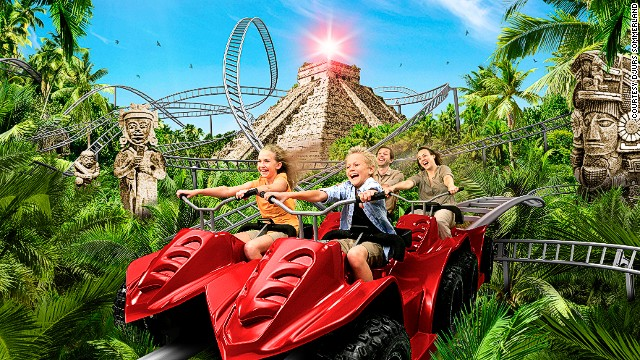 Passengers who aren't squeezing their eyes in terror get views of faux Mayan temples, waterfalls and jungles on this all-terrain ride.